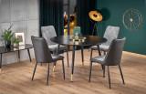 Cumpara ieftin Set masa din MDF si metal Embos Negru / Auriu + 4 scaune tapitate cu stofa si piele ecologica K368 Gri inchis / Negru, Ø120xH75 cm