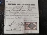 Chitanta societatea de gaz si electricitate Bucuresti,1908,timbru 10 bani