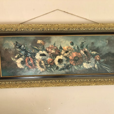 Tablou litografie veche germana,buchet de flori,dimensiuni mari