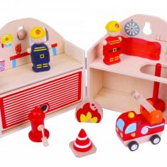 Mini Statie de pompieri, 7 piese, 19.5 x 18.5 x 14.5 cm, 3 ani+