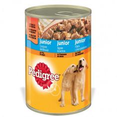 Hrana pentru caini Pedigree Junior, cu Pui in Aspic, Conserva 400 g