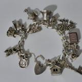 Bratara argint vintage cu charmuri -11030