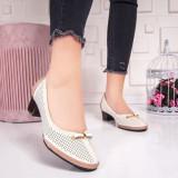 Pantofi cu toc mic dama bej Siemia