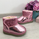 Cumpara ieftin Cizme roz imblanite lacuite cu sclipici fete copii bebe 20