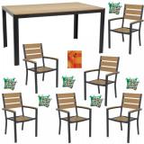 Set mobila gradina,terasa masa dreptunghiulara cadru aluminiu POLYWOOD NATURAL 150x90x74cm cu 6 scaune 60x57x89cm,6 perne , fata de masa B003018-95310
