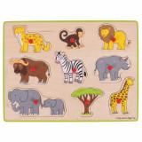 Puzzle din lemn incastru Safari, 9 piese, 3 - 7 ani, Bigjigs