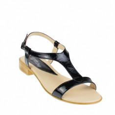 Sandale dama din piele naturala lacuita, foarte comode - SCORALACN