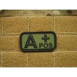 "Patch Bloodtype ""A POS"" cauciuc, Forest JTG, JG"