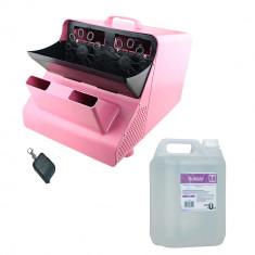 Masina de facut baloane 100w capacitate 2.5L roz cu telecomanda lichid cadou