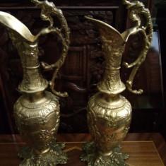 Set de 2 superbe carafe din bronz masiv in stilul Baroc