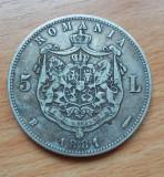 SV * Romania 5  LEI  1881  Carol I Rege  cu G lat  25 GRAME  ARGINT .835  +/- VF