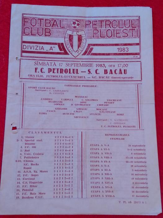 Program meci fotbal PETROLUL PLOIESTI - SC BACAU (17.09.1983)