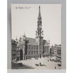 BRUXELLES , HOTEL DE VILLE , CARTE POSTALA DUBLA , ILUSTRATA , MONOCROMA, NECIRCULATA , PERIOADA INTERBELICA