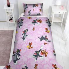 Set lenjerie pentru bebelusi cu aparatori laterale, Tom Jerry, bumbac 100%