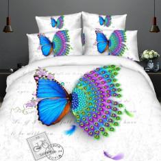 Lenjerie de pat dublu bumbac Print Butterfly peacock, 220x230 cm