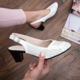 Pantofi Verisa albi cu toc