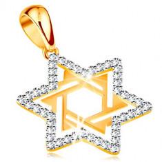 """Cumpara ieftin Pandantiv realizat din aur 585 -""""Steaua lui David"""" decorata cu zirconii transparente si decupaje"""