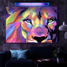 Poster UV fluorescent blacklight Lion Colorful 86x61cm, culori neon