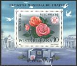 ROMANIA 1989 - EXPOZITIA MONDIALA DE FILATELIE. TRANDAFIRI, COLITA MNH, P12, Nestampilat