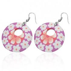 Cercei rotunzi Fimo - flori alb cu roz
