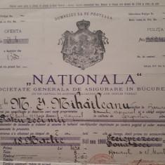 Polita de asigurare NATIONALA - 1913 - Rara