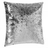 Perna decorativa cu paiete, 43x43x12 cm, 100% poliester, mov/argintiu