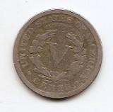 "Statele Unite (SUA) 5 Cents 1911 ""Liberty Nickel"" (""CENTS"") 21.2 mm KM-112  (2)"