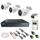 Kit complet de supraveghere 3 camere Acvil AHD EF30 4K 8 MP IR 20 m 2.8 mm + DVR AHD Acvil XVR5104 4K 4 canale 8 Mp + Hard Disk Seagate Skyhawk ST1000