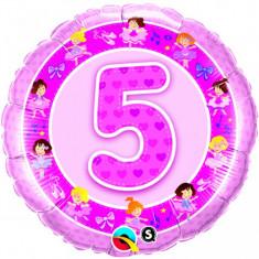 Balon roz 5 ani din folie cu balerine 43cm