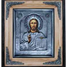 Icoane argintate, Icoana Mantuitorul Iisus Hristos, dim 42cm x 37 cm, cod A-07