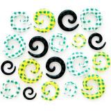 Expander pentru ureche – spirală cu model marijuana - Lățime: 8 mm, Culoare: Alb
