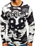 Cumpara ieftin Bluză pentru bărbat fără glugă cu imprimeu camuflaj-gri Bolf 0743