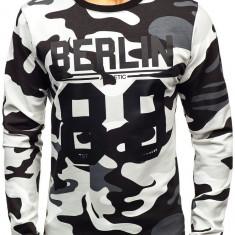 Bluză pentru bărbat fără glugă cu imprimeu camuflaj-gri Bolf 0743
