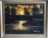 """PICTURA, tablou nou, superb, """"LAC IN LUMINA LUNII"""" , pictor CONSACRAT, Natura, Ulei, Realism"""
