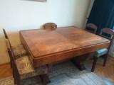 Mobila veche, sufragerie:masa,6 scaune,servanta cu vitrina ,2 fotolii,lemn masiv