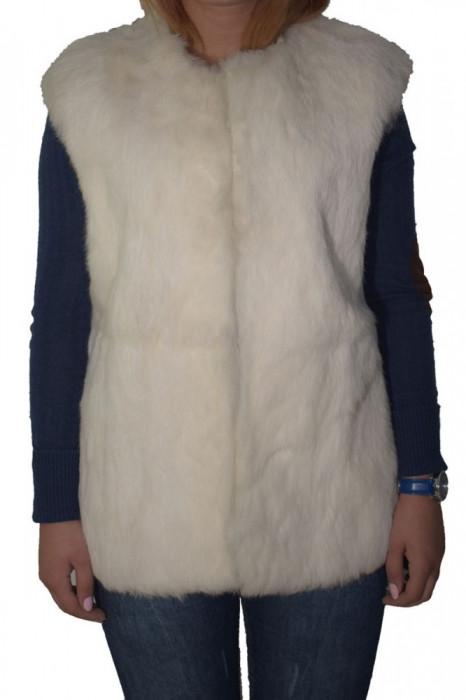 Vesta dama, din piele naturala, Kurban, -K2, alb satin