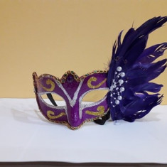 Masca venetiana de petrecere mov, Marime universala, happy people