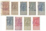 România, lot 258 cu 9 timbre fiscale generale, Ferdinand, 1919, oblit.