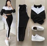 Trening dama lung negru cu alb cu pantaloni lungi si bluza cu maneca lunga fashion