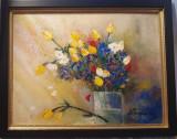 """PICTURA,TABLOUmodern romanesc,decorativ,""""Lalele multicolore"""",nou,rama deosebita"""