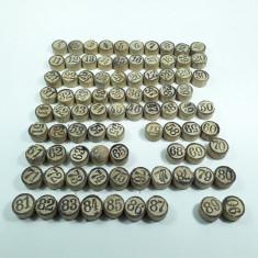j Jetoane de lemn cu numere pentru joc romanesc vechi Lotto / loto