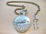 A446-Ceas pescaresc buzunar ChTime barbatesc metal argintiu functional quartz.