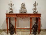 Garnitura Ceas de semineu cu Candelabre/ Sfesnice, Placat cu argint, Louis XVI