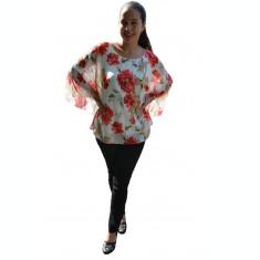 Bluza casual Vivien cu imprimeu rafinat pe fond alb