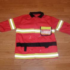 costum carnaval serbare pompier pentru copii de 4-5-6 ani