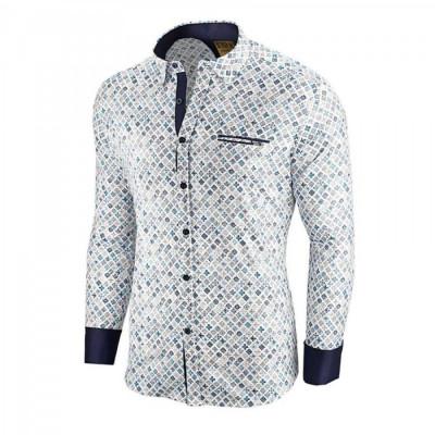 Camasa pentru barbati alba flex fit cu model Soiree d automne III foto