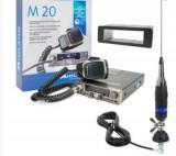 Kit Statie radio CB Midland M20 + Carcasa 1 DIN + Antena Alan S9 cu cablu