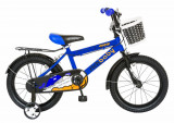 Bicicleta copii 16 FIVE Boldore cadru otel culoare albastru negru roti ajutatoare varsta 4 6 ani