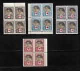 ROMANIA  1945 - CRUCEA ROSIE, BLOCURI DE 4 TIMBRE, MNH - LP 165, Nestampilat
