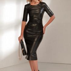 Rochie din piele ecologică cu cordon